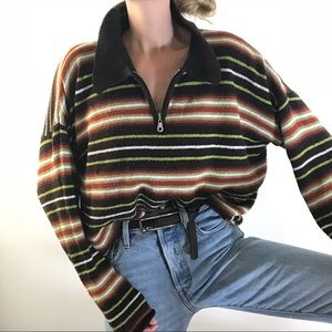 VINTAGE/ striped oversized slouchy half zip knit